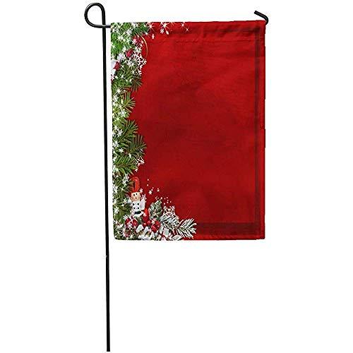 Novelcustom Seasonal Garden Flags,Grüner Grenzweihnachtstannen-Baum-Nussknacker Auf Weinlese-Roter Winter-Alter Schnee-Dekorativer Haus-Yard-Flagge Im Freien 32X48Cm