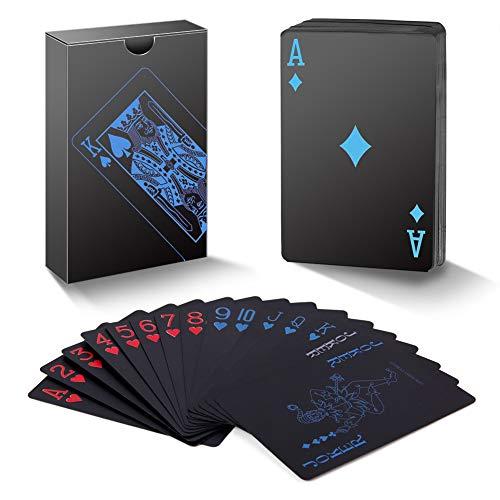 A ANGG Spielkarten 2 Kartendecks, Einzigartig kühles Schwarzes Poker Wasserdichtes PVC Plastik Spielkarten, Premium Kartendeck Standardgröße für Kinder & Erwachsene