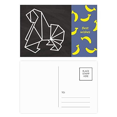 Tarjetas de agradecimiento con forma geométrica de perro de origami, 20 unidades