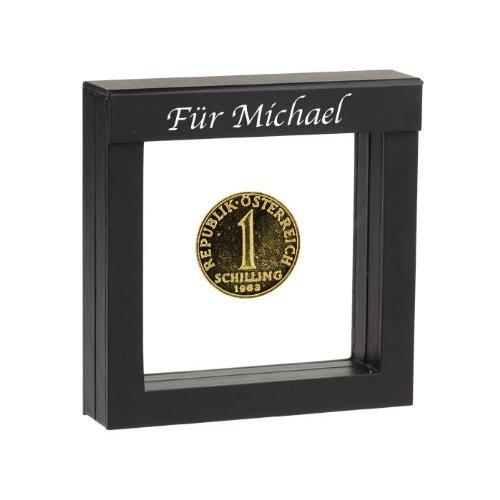 Historia 1 Schilling vergoldete Münze 1987 in Präsentations-Etui mit Ihrer individuellen Namens-Gravur