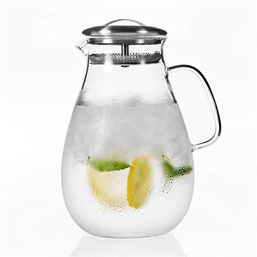 SGXDMsh 1.5 L/Liter Karaffe, Glaskanne,Wasserkrug mit Abnehmbarer Edelstahl Deckel, Wasserkaraffe mit Kühlelement Formschöne, Glaskaraffe mit integriertem Sieb (Einzeltopf, Keine Tasse)