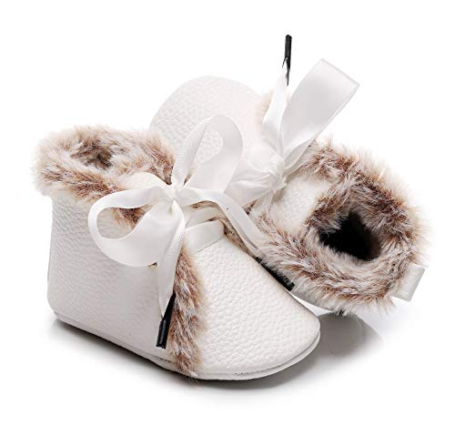 Bebila Winter Toddler Snow Boots - Lace up Baby Girls Boys Shoes Lace up Non-Skid Soft Sole Slippers Newborn Warm Ankle Fur Booties for Infant Newborn First-Walkers (0-3 Months, White)