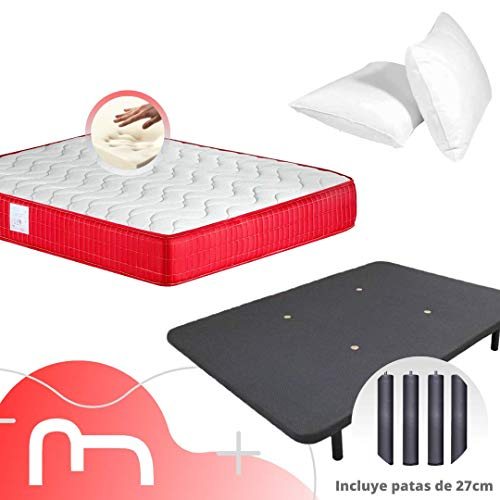 MICAMAMELLAMA Colchón Viscoelástico VISCO Confort Fresh 3D Reversible + Base Tapizada con Patas 26cm + 2 Almohadas Microfibra Mash (135 x 190)