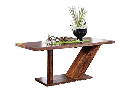 MASSIVMOEBEL24.DE Sheesham Holz massiv Möbel lackiert Säulentisch 180x90 Massivmöbel Holz massiv walnuss Duke #132