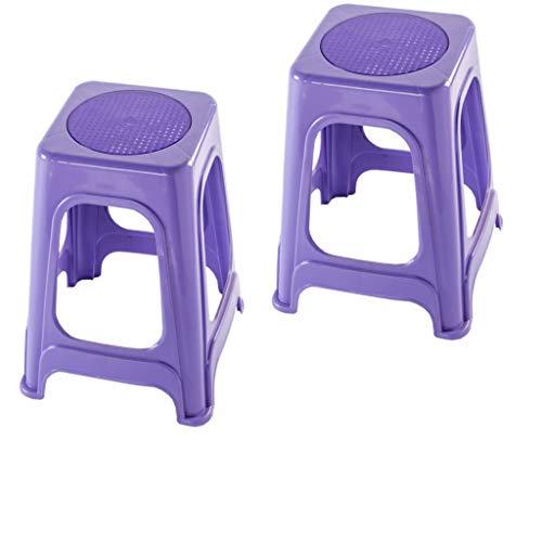 YLCCC Plastic hoge kruk– Compacte en lichtgewicht anti-slip stapstoel Multi-Purpose voor thuis, keuken en werkplaats Tuin Badkamer (roze), Paars