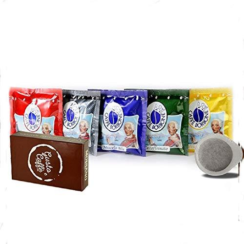 150 CIALDE Caffè Borbone (PACCO DEGUSTAZIONE MISCELA ROSSA-BLU-NERA-ORO-DEK) CON CARTE MODIANO GUSTO E CAFFE'
