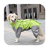 ペット犬レインコート屋外防水服フード付きジャンプスーツオーバーオール小さな大きな犬レインマントフレンチブルドッグラブラドール-Green-14