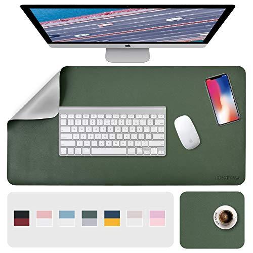 Schreibtischunterlage, Mousepad,Mauspad 2 Pack 80 x 40cm +20 x 28 cm , Schreibtischunterlage Leder, Bürotisch Unterlage, Laptop Unterlage Kinder, XXL Gaming Schreibtischunterlage Green/Gray PU Office