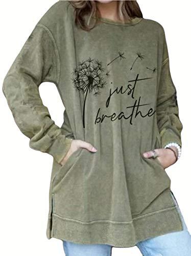 IVERIRMIN Women's Just Breathe Dandelion Print Sweatshirt, Long Tunic for Women (Army Green,M)