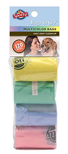 Spotty Leak-Proof, Easy Tear Off Refill Rolls, Disposable Pet Dog Poop Bags to Go for Waste Pickup, Multicolor, 120 ct