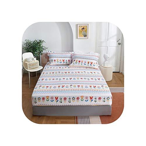 Fairy-Margot Bettgarnituren |2020 1 Stück Baumwolldruck Bettmatratze Set mit Vier Ecken und elastischen Bandblättern-meimiaozhixia-140X200X25cm