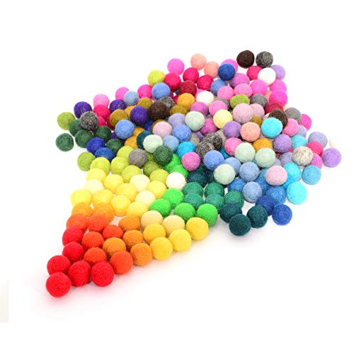 Felt Pom Poms, Wool Balls (240 Pieces) 1.5 Centimeters - 0.6 Inch
