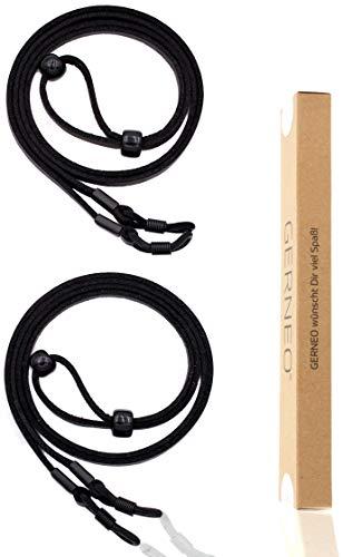 GERNEO® - DAS ORIGINAL - Premium Brillenband Leder aus hochwertiger PU Glatt- und Wildlederoptik Kombination für Lesebrille & Sonnenbrille - 2x schwarz - Befestigung in schwarz - 2er Pack
