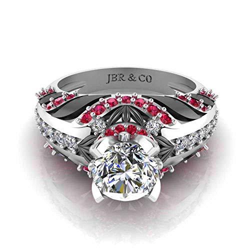 Jbr - Anillo de compromiso de plata de ley solitario de dos tonos con rubí sintético para novia, regalo de cumpleaños con hermosa caja de joyería