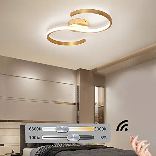 HIL Mode LED Plafondlicht,Slaapkamerverlichting Gouden Gemakkelijk Dimbaar Met Afstandsbediening Scandinavisch Creativiteit Kamerverlichting Lichte Luxe Woonkamerverlichting Lijnlichten,49 * 25cm/19w