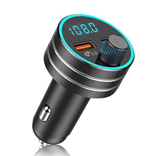 Transmetteur FM Bluetooth 5.0 Adaptateur Radio Lecteur MP3 Dual USB Ports QC3.0 et 5V 1A Chargeur Voiture Appel Main Libre Affichage à LED Clé USB pour iOS et Android