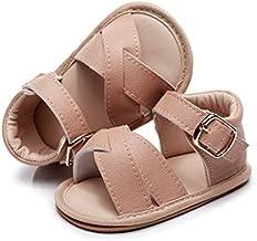 Baby Girls Sandals Rubber Sole Non-Slip Summer Outdoor Toddler Girl Sandals Flat Shoes Infant Cute Little Kids First Walker Shoes (12 Months-18 Months US, Begie)