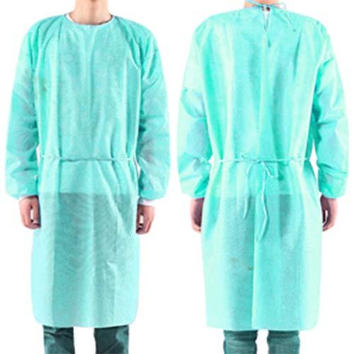 10 abiti isolanti PCS, abiti monouso per adulti, maniche lunghe, abiti protettivi per collo e cintura. Servizio di esame non sterile. Polipropilene Spunbond. Senza lattice Abito verde