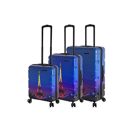 Rada Aero Vortex Reisekoffer, Hartschale aus ABS, klein, mittel, groß, Kofferset, Trolley mit Motiv, TSA-Schloss und 4 Rollen (Eiffelturm, Koffer-Set)