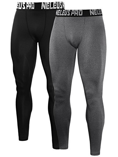 Neleus Men's 2 Pack Compression Pants