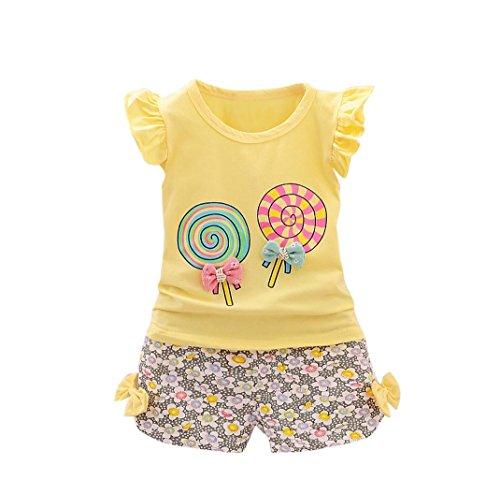Fossen Bebe Niña Camiseta Sin Mangas de Lollipops y Pantalones Cortos Florales Conjunto de Ropa Verano (2 años, Serie 2~Amarillo)