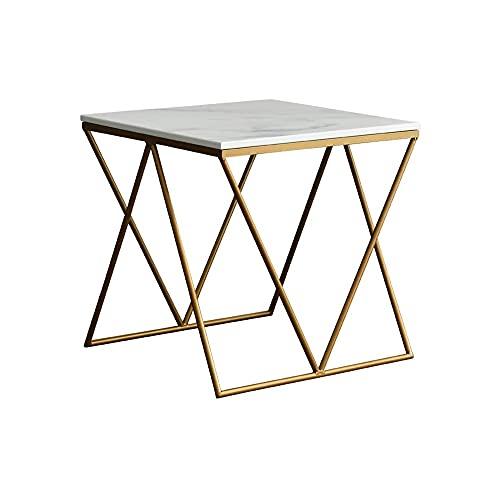 FENXIXI Lron Mesa de té simple moderna creativa sofá mesa auxiliar sala de estar pequeña mesa cuadrada de almacenamiento