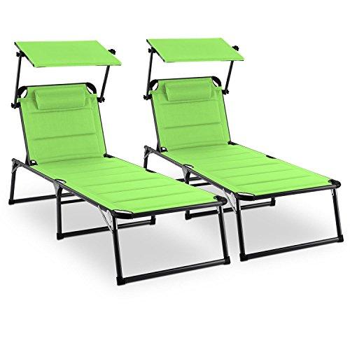 blumfeldt Amalfi Juicy Lime Gartenliege Sonnenliege 2er-Set(Sonnendach, 5-Stufig verstellbare Rückenlehne, witterungsbeständig, Polyestergewebe, Schaumstoff-Polsterung) grün