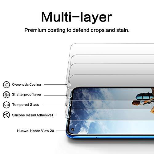 DOSNTO Panzerglas Schutzfolie für Huawei Honor View 20 2 Stück, 9H Härte, Anti-Kratzer, Anti-Öl, Anti-Bläschen, Anti-Fingerprint Displayschutzfolie Panzerglasfolie - 2