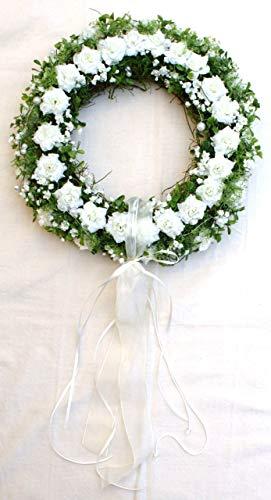 P.Shop Blütenkranz Rosenkranz Blumenkranz Wandkranz Türkranz Hochzeit Rosen weiß Ø 38