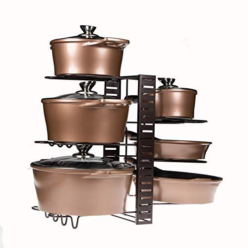 Soporte ajustable de ollas y sartenes | Capacidad para 8 ollas y sartenes | Organizador de cocina y alacena | Almacenamiento de tapas y cacerolas | Estante para varios tipos de ollas, sartenes y tapas