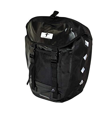 Red Loon R1 x robuste Fahrradtasche aus LKW-Plane – wasserdichte Packtasche für Gepäckträger in Schwarz