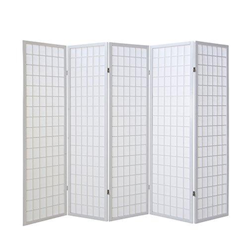 Homestyle4u 262, Paravent Raumteiler 5 teilig, Holz Weiss, Reispapier Weiß, Höhe 175 cm