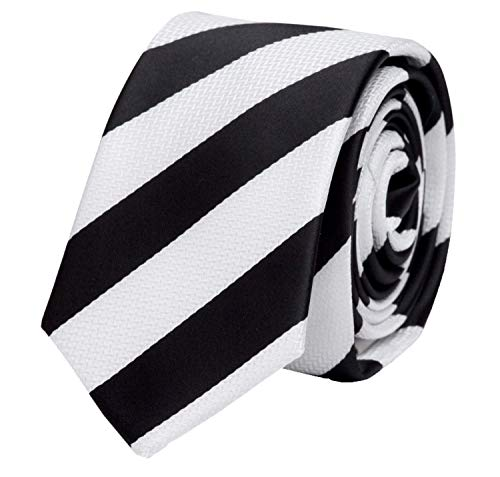 Fabio Farini - Elegante Herren Krawatte gestreift in 8cm Breite in verschiedenen Farben für jeden Anlass wie Hochzeit, Konfirmation, Abschlussball Weiß Schwarz
