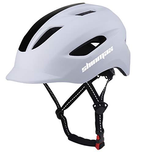 Shinmax Casque de vélo,Casque de vélo de Banlieue CPSC et certifié CE,Casque Trottinette Electrique Adulte,Casque vélo de Route avec feu Arrière à LED et Ceinture de Sécurité Réfléchissante,57-62CM