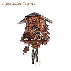 Alexander Taron 4358 Engstler Weight-Driven Cuckoo Clock-Full Size-10.5 H x 10 W x 6 D, Brown