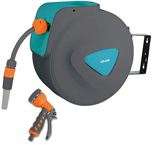 DMS Schlauchaufroller Gartenschlauchtrommel Wasserschlauchaufroller Schlauchtrommel Automatik inkl. Bewässerungsbrause Aufroller Garten Schlauch Wasserschlauch GST (20 Meter, Blau)
