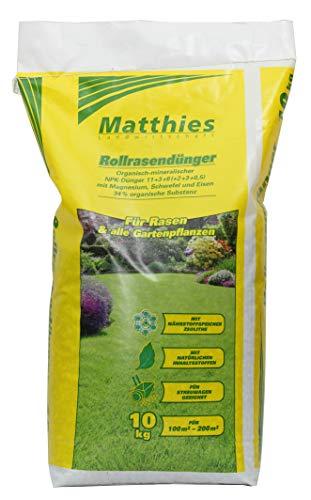 Matthies Rasendünger 10 kg für 100-250 m², organisch mineralisch, Langzeitwirkung