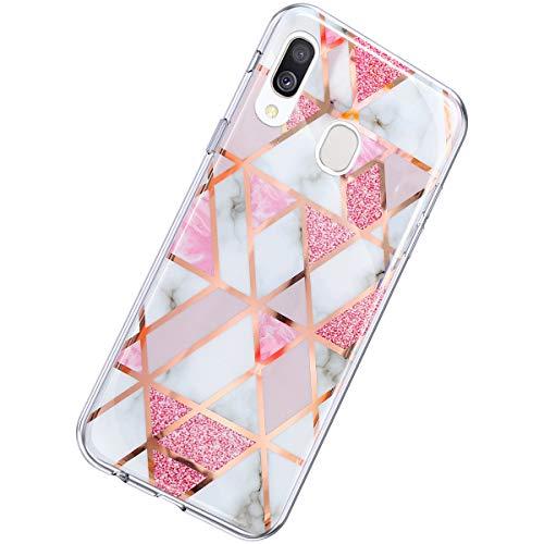 Herbests Kompatibel mit Samsung Galaxy A40 Hülle Marmor Muster Glänzend Glitzer Bling Weich Silikon Hülle Kratzfest Schutzhülle Tasche Crystal Case Durchsichtig Dünn Handyhülle,Marmor Rosa