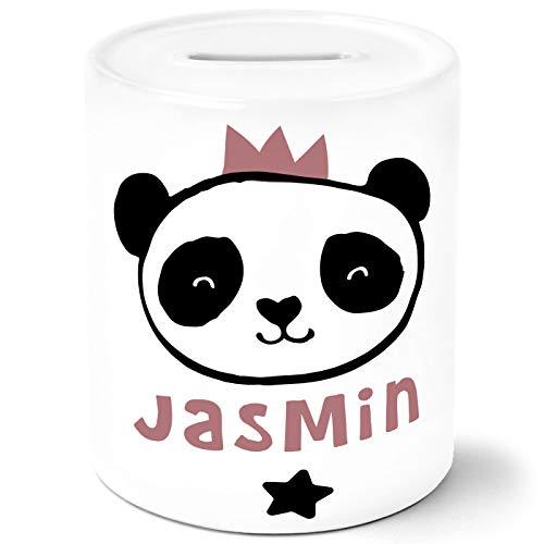 SpecialMe® Kinder Spardose mit Namen Tiermotive Little Fox Fuchs Pinguin Panda personalisiertes Sparschwein Keramik Panda weiß Unisize