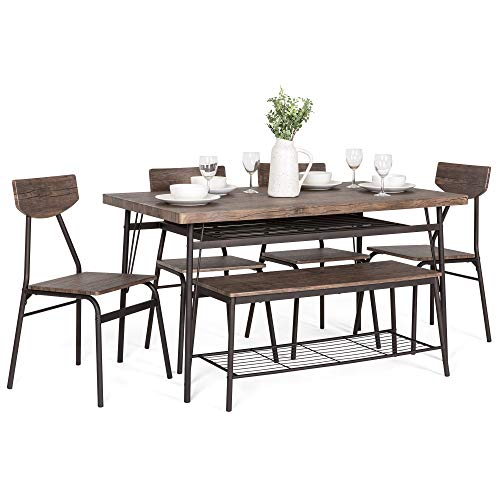 Best Choice Products 6-Piece 55in Modern Home Dining Set w/Storage Racks,...