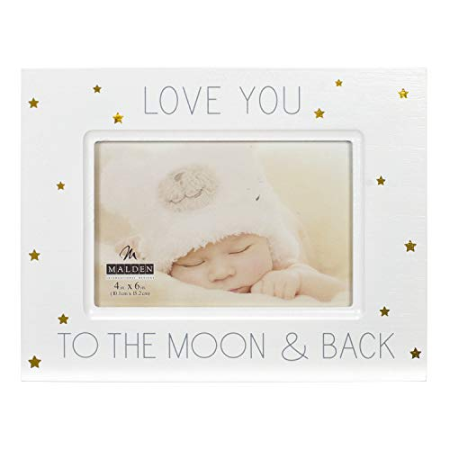 White Wooden Picture Frame with Gold Accents