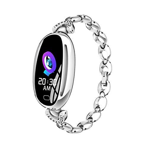 Smart Armbanduhr Schmuck Fitness Activity Tracker Sport Laufen Schlaf Herzfrequenz Blutdruck Gesundheitsüberwachung Anruf SMS Erinnerung Wasserdichte Unterstützung Android Und IOS ( Color : Silver )