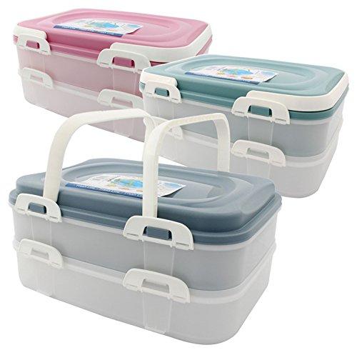 Party Container Kuchenbehälter Lebensmittel Transportbox XL mit 2 Etagen und klappbaren Griffen, Farbe:Grün