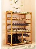 YZjk Ripiano per Scarpe con braccioli 4 a 6 File di Lunghezza 80 cm Supporto di bambù Bar...