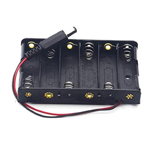 seeyouagan Support Box für Größe 6 AA Batterie 6 Stück Aufbewahrungsbox mit DC 9V Stromeingang mit DC2.1 Batteriebehältertasche