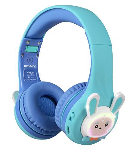 Riwbox RB-7S Auriculares para niños, Bluetooth con luz LED inalámbricos Plegables Volumen sobre la Oreja Seguro Limitado 75dB 85dB 95dB con micrófono Tarjeta TF, Auriculares niños (Azul Verde)