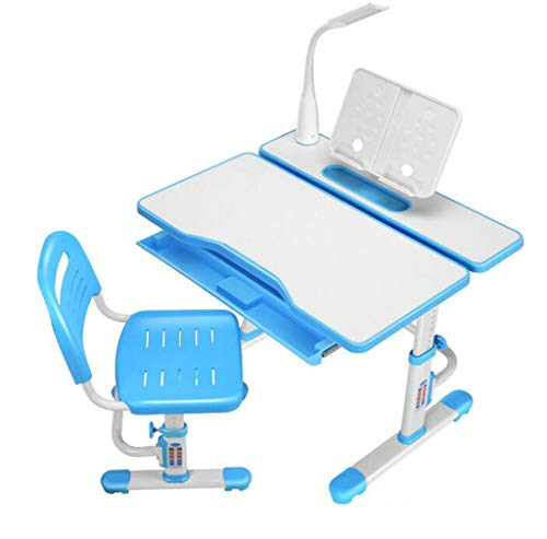 GGQF 80 cm Höhe Adjustable Children ' S Study Table and Chair Set, Children ' S Study Table School Student Table with LED Lights and Reading Frame Blue,Blau