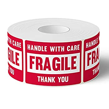 """3"""" X 2"""" Fragile Handle with Care Warning Stickers Fragile Tape for Packing and Shipping Permanent Adhesive Labels 500 Per Roll  1 Pack"""