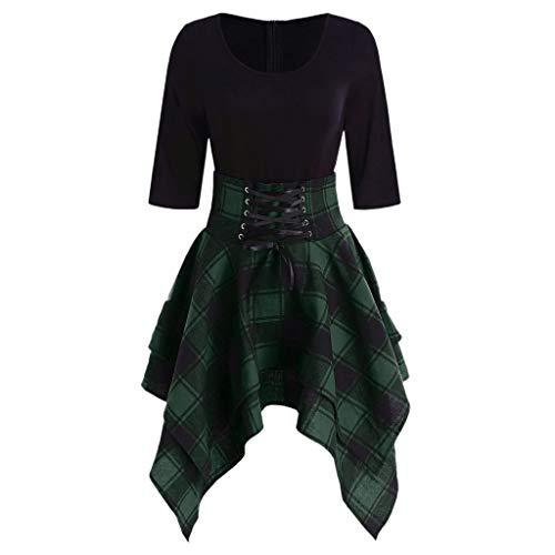 Linkay Kleid Damen Lässiger O-Neck Kurz Schnüren Sie Sich Tartan Rock Sommer Plaid Print Asymmetrical Mini Kleider Mode 2019 (Grün, Small)