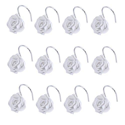 MagiDeal 12pcs Crochet de Rideau de Douche Forme en Rose en Résine Patère pour Voilage Store Chambre Salle de Bain - Blanc
